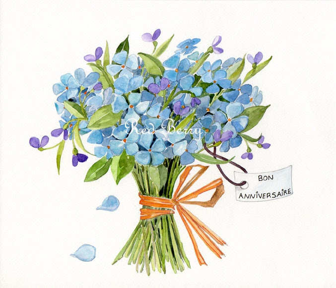 Birthday bouquet Watercolor painting Original Blue Flowers Illustration