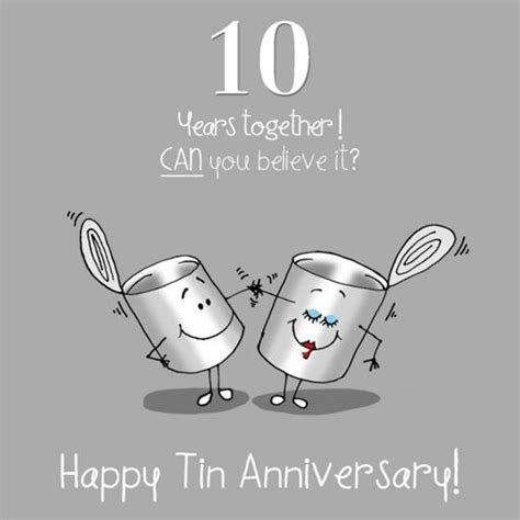 10th Wedding Anniversary Greetings Card   Tin Anniversary