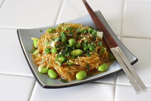 Spaghetti Squash Sesame Noodles with Edamame