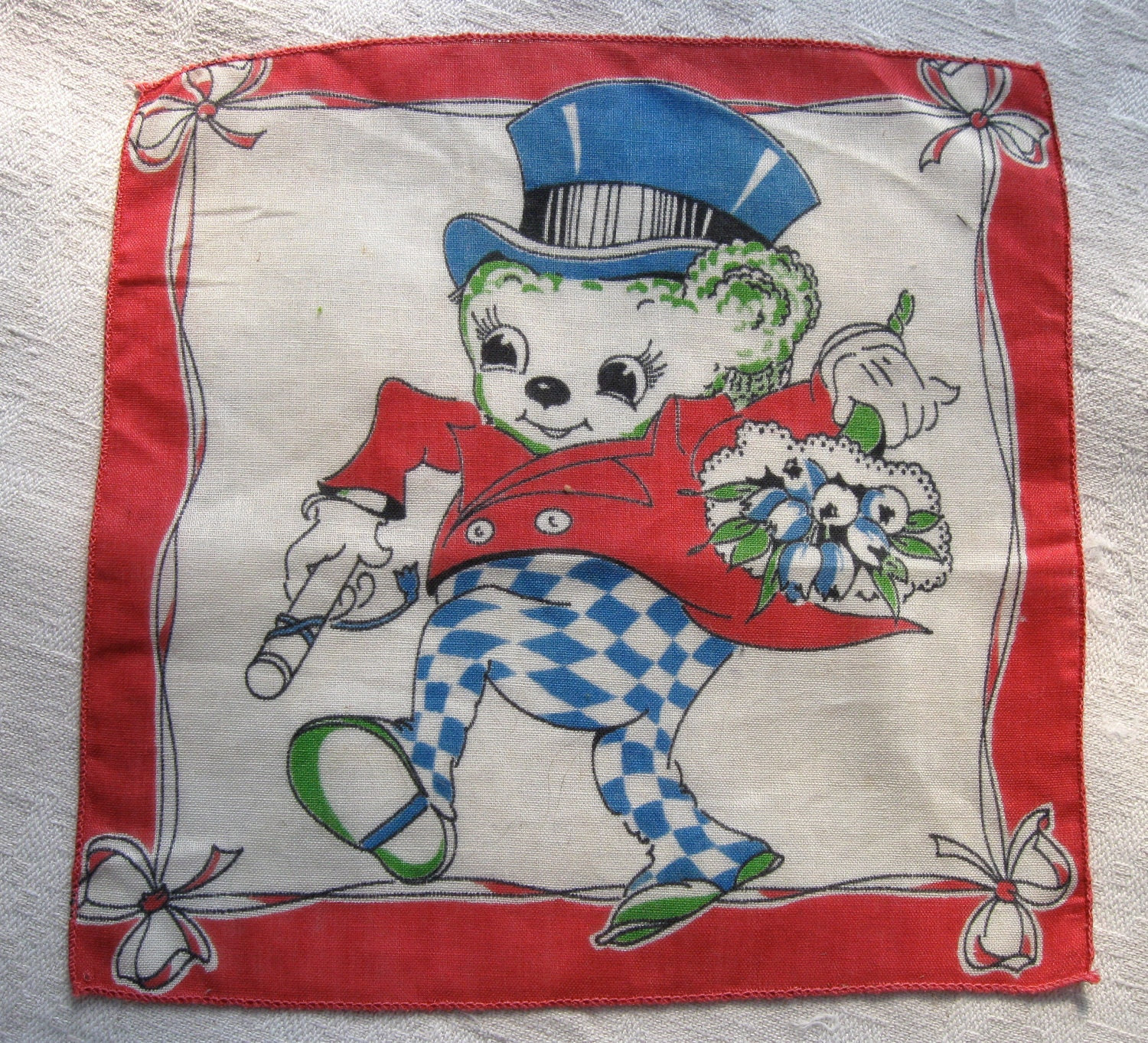 Antique Child's Handkerchief circa 1940 Colorful BEAR with Bouquet Top Hat - SeacoastEstateSales