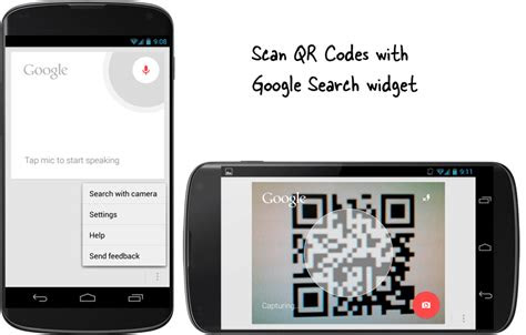 scan qr codes   google search widget  android