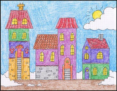 draw  winter town art projects  kids