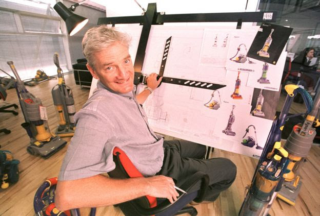 James Dyson at the drawing board in 2000