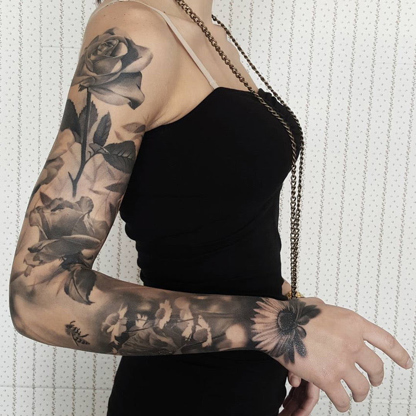 Floral Sleeve With Roses Sunflowers Best Tattoo Design Ideas