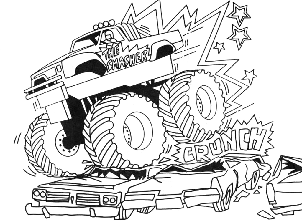 Monster Truck Printable Coloring Pages For Kids Drawing With Crayons