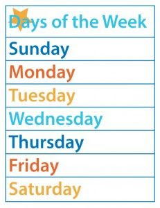 Printable months of the year and days of the week | Kids Learning ...