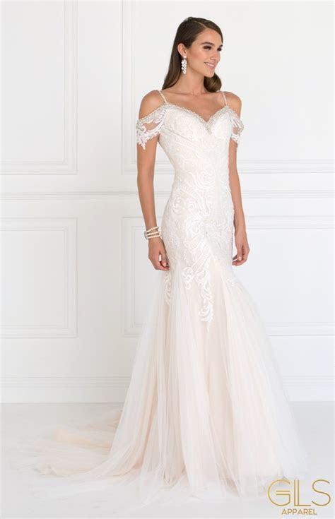 Long Cold Shoulder Ivory Wedding Dress by Elizabeth K