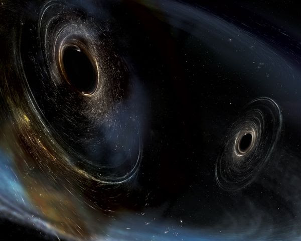 An artist's concept of two black holes about to merge together in the universe.