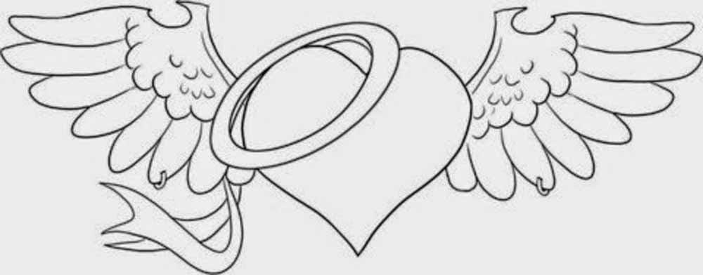 Dibujo San Valentin Corazon Con Alas De Angel Para Regalar Y Adornar
