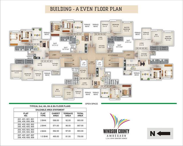 Windsor County Ambegaon Budurk - A Building - Even Floor Plan