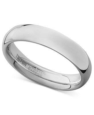 Men's White Tungsten Carbide Ring, Dome Wedding Band (5mm