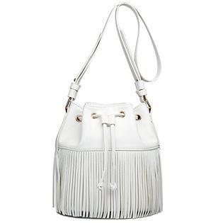 Miss Lulu Miss Lulu Leather Look Fringe Tassel Drawstring Bucket Hobo Shoulder Bag (Beige)