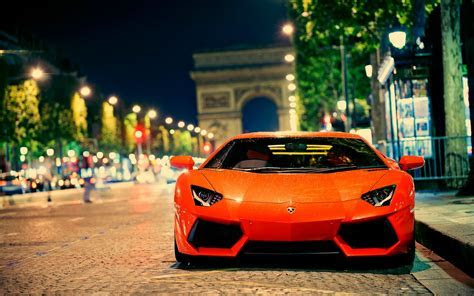 Hot Orange Lamborghini parking Wallpaper Car Wallpaper High Quality