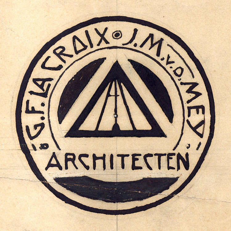 Design drawing for name stamp G.F. la Croix and J.M. van der Mey, 1906. NAI Collection