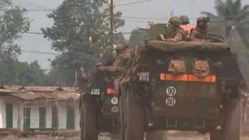 A French military convoy rolls through the Central African Republic. Violence has continued after the forced resignation of Michel Djotodia. by Pan-African News Wire File Photos