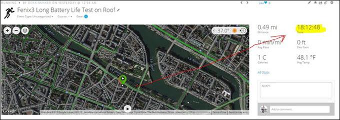 Портативный GPS навигатор Garmin fenix 3. Батарея в режиме ежесекундной записи