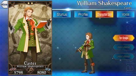 fate grand order william shakespeare skills stats