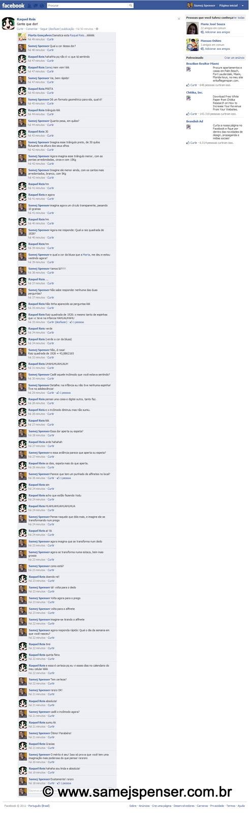 IMAGEM: Conversa entre Samej e Raquel no facebook