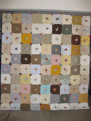 "5"" squares with snippets at opposite corners, sewn into 4 patch squares - Cut.Sew.Iron.Repeat: Neutrals quilt"