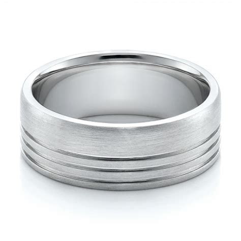 mens contemporary brushed white gold wedding band
