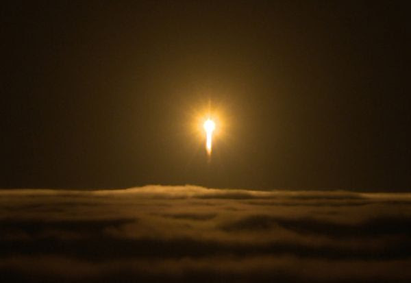 An Atlas V rocket carrying NASA's InSight (Interior Exploration using Seismic Investigations, Geodesy and Heat Transport) Mars lander launches from Vandenberg Air Force Base in California...on May 5, 2018.