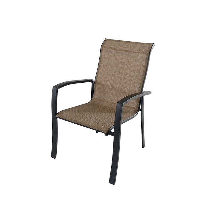 Style Selections Pelham Bay Black Stackable Metal Stationary Dining Chair S With Tan Sling Seat In The Patio Chairs Department At Lowes Com