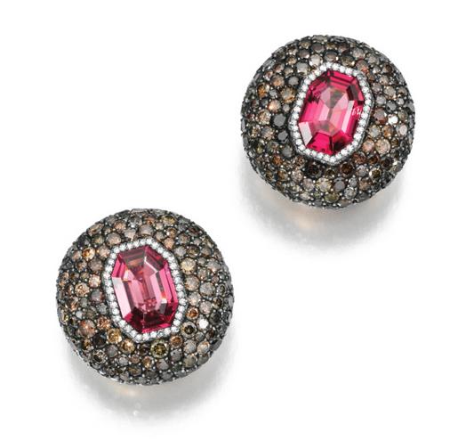 JAR spinel and diamond earclips