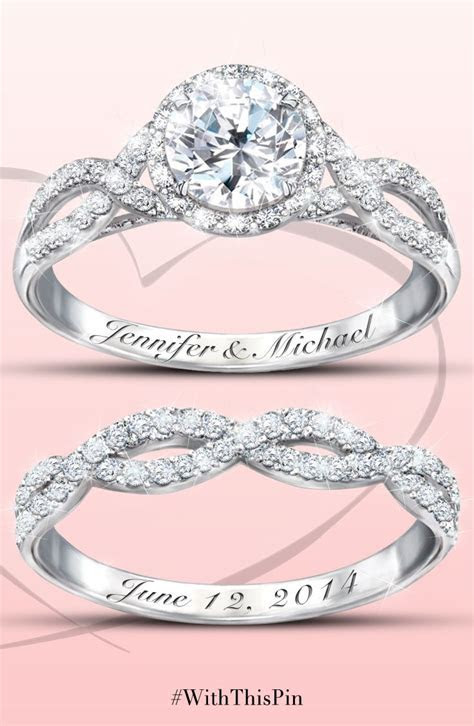 Entwined Diamonesk Bridal Rings With Personalized