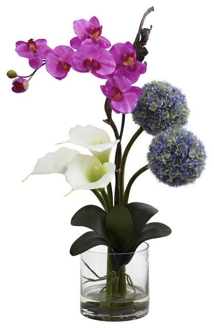 Nearly Natural Calla Orchid and Ball flower Arrangement
