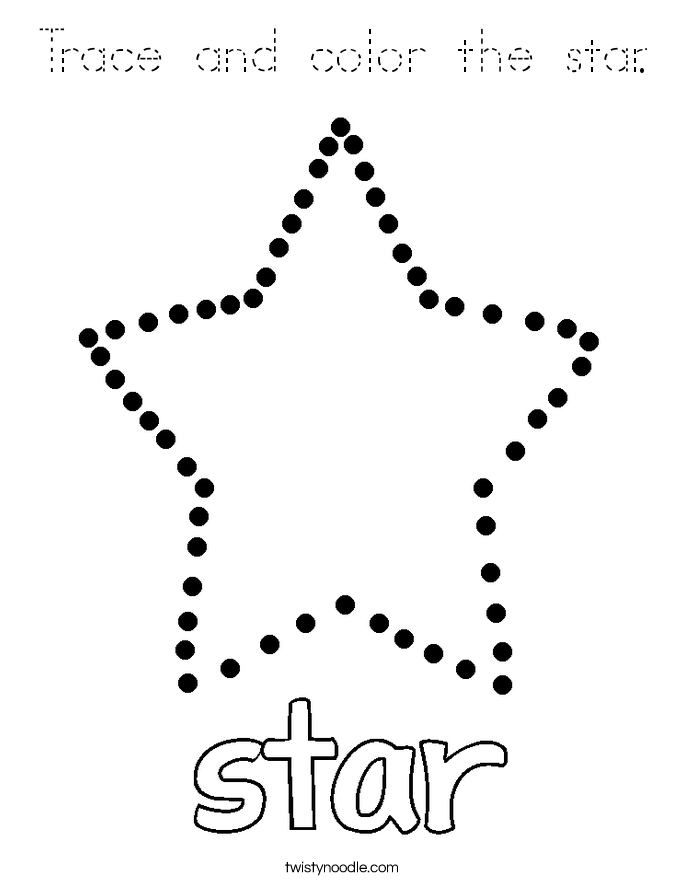 Trace and color the star Coloring Page - Tracing - Twisty ...