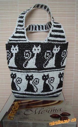 Bolsa plástica del bolso con el gato.  Crochet (3) (314x512, 132Kb)