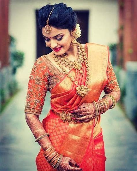 25. Red Saree With Burnt Orange Blouse   Blouse designs in