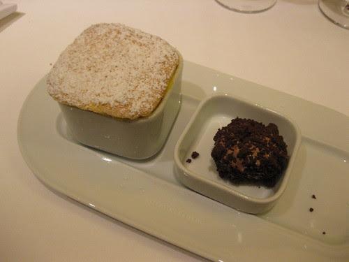 vau souffle with chocolate ice truffle