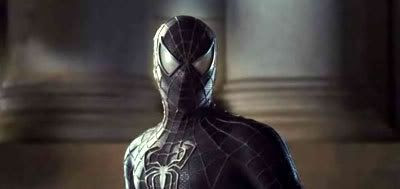 Spider-Man wearing the black alien symbiote over his suit.