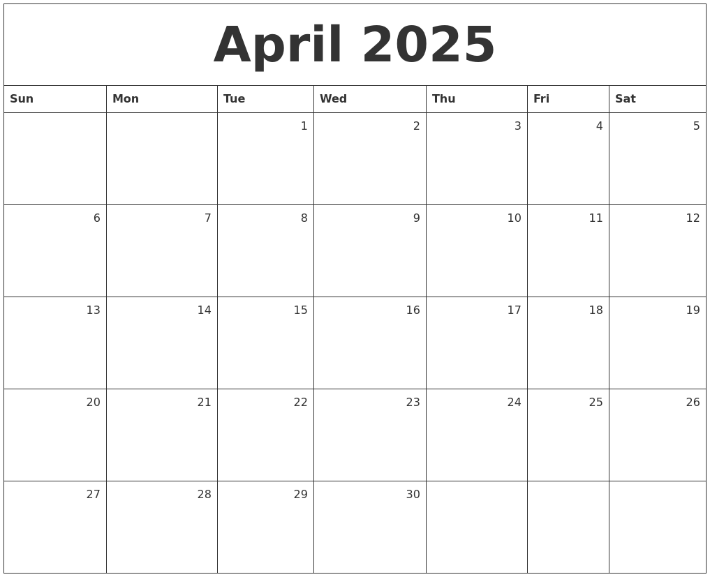 april 2025 monthly calendar