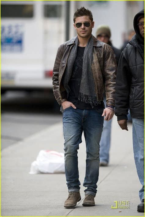 zac efron leather jacket  scarf fashion ah men