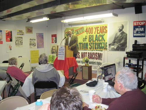 Abayomi Azikiwe, editor of the Pan-African News Wire, featured speaker at African American History Month public forum on Feb. 23, 2013. The talk focused on the Emancipation Proclamation and the Civil War. (Leona McElvene) by Pan-African News Wire File Photos