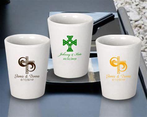 Personalized Ceramic Shot Glasses w/ Religious Designs