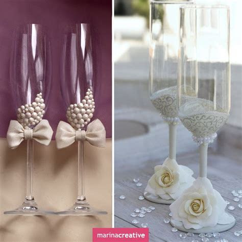 #Wedding #glasses: ideas for decorating   ??????/stemware