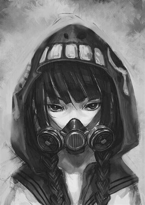 anime girl  gas mask image
