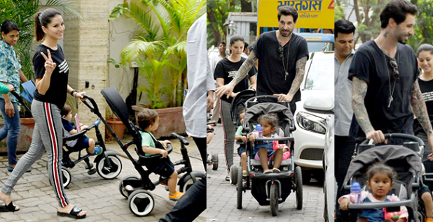 Mommy Sunny Leone and Daddy Daniel Weber spends some quality time with their munchkins