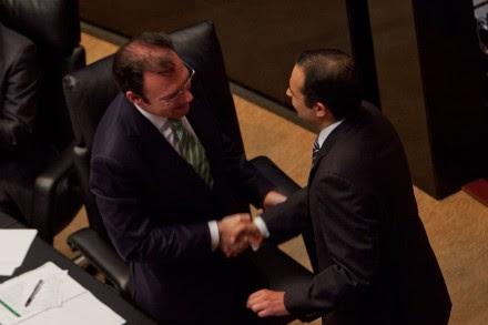 Videgaray y Cordero en el Senado. Foto: Miguel Dimayuga
