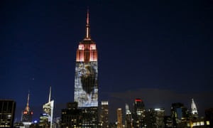 An image of dear-departed Cecil the lion is projected onto the Empire State Building in New York.