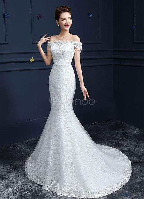 Lace Wedding Dress Mermaid Off The Shoulder Bridal Gown