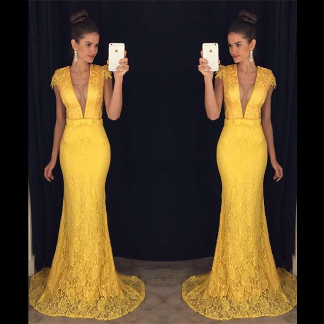 Sexy Deep V Neck Trumpet Tulle Prom Dress Elegant Yellow Lace Prom Dress with Covered Buttons Cap Sleeves Long Sweep Train Prom Dress 020102449_original