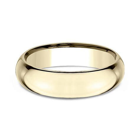 Mens 14K Yellow Gold 6MM High Dome Comfort Fit Wedding
