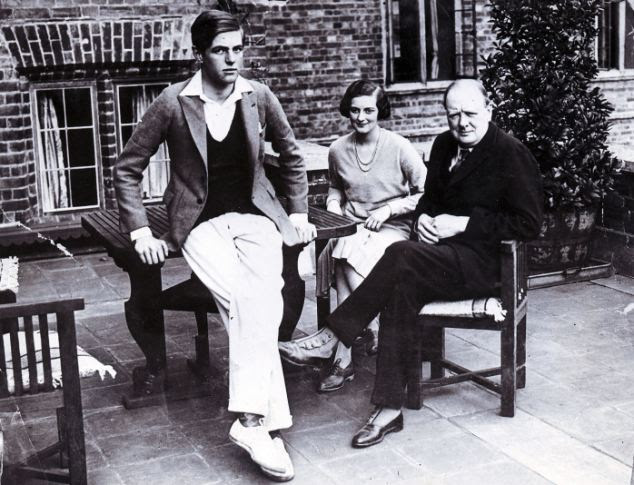 Family: Churchill is pictured at the Kent-based estate with his son Randolph (left) and daughter Diana (centre)