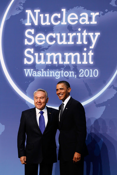 Nursultan Nazarbayev U.S. President Barack Obama (R) and Kazakhstan President Nursultan Nazarbayev pose for a photograph at the start of the Nuclear Security Summit at the Washington Convention Center April 12, 2010 in Washington, DC. Forty-seven delegations from around the world have converged on the United States' capital to discuss nuclear security.