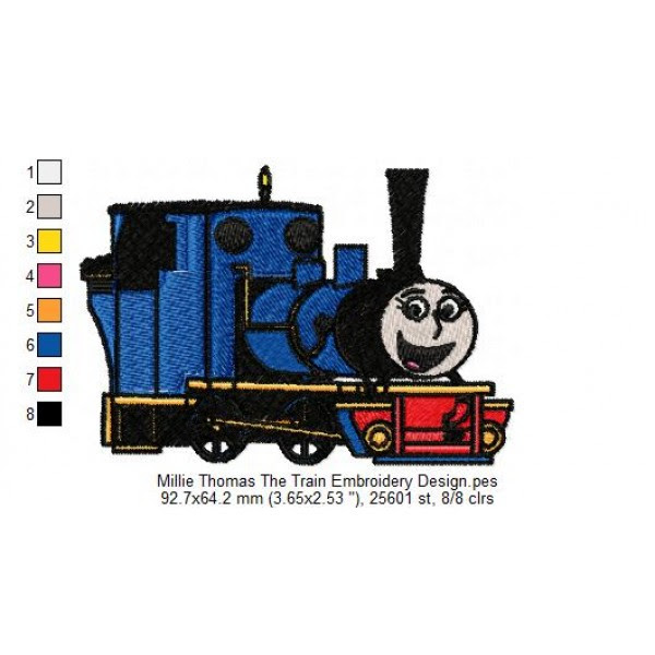Millie Thomas The Train Embroidery Design