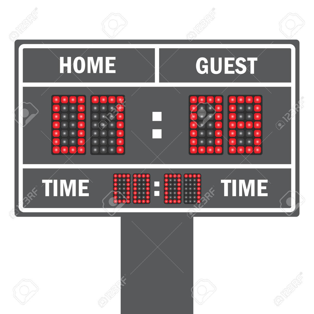 Vector Illustration Of A LED Football Scoreboard With Fully ...